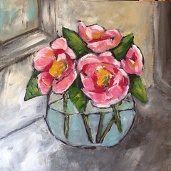 Camellias in a Fish Bowl (Art by Trish Jones (theOldPostRoad)) Tags: life pink flowers flower art floral by painting jones still trish gray bowl southern bouquet camellia whimsical camellias