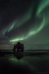 Surrounded by light (Frijfur M.) Tags: nightphotography reflection green colors night clouds stars blacksand iceland sand nightshot northern sland northernlights icelandic ntt sandur nordlicht norurljs hvitserkur hvtserkur norvesturland canon5dmarkii samyang14mm frijfurm