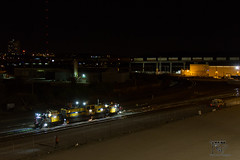 Grinding Work (Russell_Honey) Tags: nightphotography ambientlight kansascity sparks railfan bnsf loram railgrinder railroadphotography containertrain