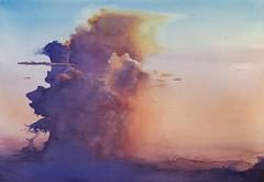 sunset clouds (MFG512) Tags: pink blue sunset sky orange cloud storm color colour art clouds sunrise watercolor painting skyscape landscape paint purple nimbus watercolour tornado cumulo