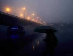I love you - Claudia (Ren Mollet) Tags: street bridge blue shadow fog night river nightshot riverside earlymorning streetphotography basel claudia 24 rhein bluelight renmollet