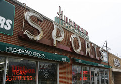 Hildebrand Sporting Goods - Broadview (Landmarks Illinois) Tags: detail brick sports sign stone store neon commerce exterior text trade broadview proviso