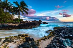 Makena Cove Sunset, Maui (brandon.vincent) Tags: ocean sunset seascape color beach rock canon hawaii lava long exposure pacific cove secret iii maui fairy filter lee 5d tale makena gnd