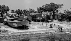 Ship Building Yard (arnabjosephite) Tags: life blackandwhite white black river boats boat ship ships dhaka launch bangladesh bnw meghna rivercruise buriganga shipbuildingyard