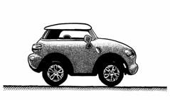 MiniMini (Don Moyer) Tags: auto moleskine car ink notebook automobile drawing mini vehicle morris moyer brushpen donmoyer