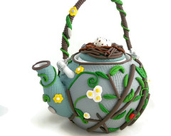 Springtime teapot (higirlsdesigns) Tags: teapot pussywillow polymer pcagoe