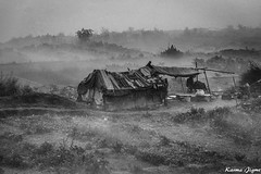 Makeshift hut (karmajigme) Tags: travel blackandwhite india mist monochrome landscape nikon noiretblanc delhi hut dwelling