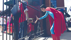 St. Louis Superman gives a high-five to a kid inside of Busch Stadium (doellingd) Tags: baseball stlouis superman missouri superhero highfive saintlouis buschstadium mlb stlouiscardinals stlouissuperman