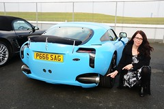 Carmen's Exhaust (Fast an' Bulbous) Tags: santa england woman hot sexy sports girl car hair pod automobile long boots outdoor mature vehicle 40 brunette milf coupe tvr sagaris pistonheads