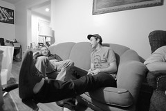 4 am (Mike Giannotti) Tags: friends portrait blackandwhite white man black men guy out sitting angle rip leg wide wideangle guys couch chilling portraiture hanging outstretched witeandblack