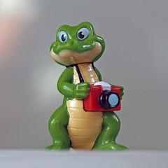 Photographer crocodile (Ciddi Biri) Tags: toy photographer crocodile krokodil timsah oyuncak biblo fotografci krokodyl vivitar55mmf28macro penepl6 m43turkiye