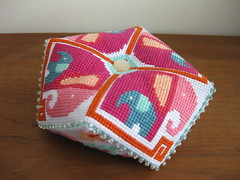 Satsuma Street Elephant Biscornu (Channah Sees The World) Tags: street pin cross stitch pincushion cushion satsuma olifant olifanten speldenkussen borduren biscornu kruissteek