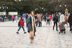 harajuku-0664-ps-w (pw-pix) Tags: park trees people strange japan standing walking outside outdoors person tokyo wooden high shoes mask character shibuya harajuku paving tall unusual stilts paved nearharajukustation stiltshoes