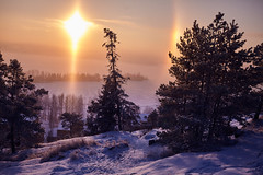 Winter AWE (ShinzonTme) Tags: blue winter sunset snow cold beautiful halo lovely sunsetcolor