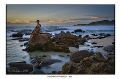 Rivermouth Beach Statue (JChipchase) Tags: sunset beach nikon australia d750 rivermouth prevelly