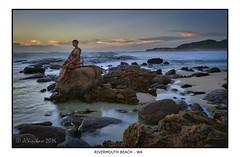 Rivermouth Beach Statue (JChipchase) Tags: sunset beach nikon australia d750 rivermouth prevelly