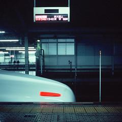 last (Kuo_YungChih.TW) Tags: street travel blue light red white 6x6 film station last train square fuji snap hasselblad  500c  80mm shinosaka  ziess  rvp100 sinkansen streetsnap   travelgraphy
