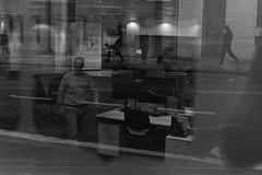Clocked (bakersam100) Tags: street blackandwhite white black reflection bus london robert film monochrome night canon frank happy photography shoot mood sad floor emotion top style atmosphere f1 scan line negative analogue shape 3200 ilford tone indoo