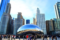 the bean (ekelly80) Tags: park city chicago art skyline illinois bean millenniumpark cloudgate windycity december2015