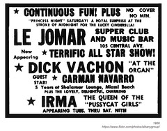 1966 le jomar supper club and music bar (albany group archive) Tags: girls music ny bar club french restaurant dick central 1966 queen le albany navarro supper avenue pussycat irma carman jomar vachon