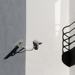 Watch this space (Arni J.M.) Tags: shadow reflection building window architecture corner iceland balcony surveillance cctv reykjavik wires cameras walls sland watchthisspace