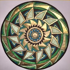 Green & Gold Mandala (20x20cm) (marusaart) Tags: black green art illustration ink gold sketch artist drawing mandala doodle ornament marker draw copic zeichnung zentangle zendala marusaart