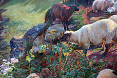 Hunt, Our English Coasts ('Strayed Sheep'), detail with sheep
