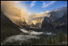 Hidden from View (Aaron M Photo) Tags: california winter snow storm nature fog clouds landscape nationalpark december view snowy tunnel yosemite halfdome yosemitenationalpark bridalveil elcapitan bridalveilfalls yosemitevalley tunnelview clearingstorm yosemitenp nikond800 aaronmeyersphotography