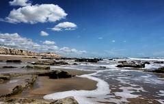 Praia das Fontes (Arimm) Tags: ocean sky cliff beach water rock brasil landscape coast seaside sand wave shore foam littoral arimm