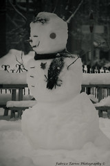 Let it snow ! (Fabrice Tarres Photography) Tags: winter bw blackwhite snowman bonhommedeneige hombredenieve