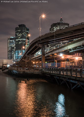 South Street and FDR Drive (DSC00403) (Michael.Lee.Pics.NYC) Tags: longexposure newyork reflection night sony eastriver fdrdrive lowermanhattan southstreet pier17 lighttrail traffictrail fe1635mmf4 a7rm2