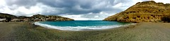 Panorama of beach at Matala, Crete (Andy Montgomery) Tags: ocean beach greece caves crete tombs 2016