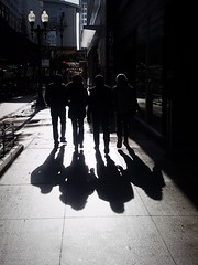 Quartet:  Explored 2.11.2016 (michael.veltman) Tags: people sun chicago walking four downtown shadows loop south silhouettes wells quartet the into