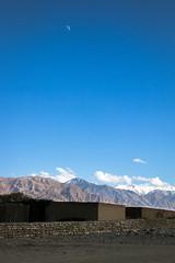 Moon and Pamir mountains, Tashkurgan (inchiki tour) Tags: travel sky moon landscape highway village snapshot uighur xinjiang silkroad karakoram kkh  uyghur traveling tajik centralasia  pamir    2015 tashkurgan  taxkorgan karakoramhighway tashkorgan