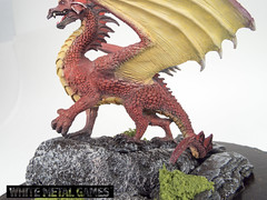 Red Dragon (whitemetalgames.com) Tags: red painting gold miniatures miniature nc dragon display reaper dragons raleigh service commission pewter plinth diorama