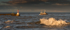 When the boat comes in. (Squareburn) Tags: light lighthouse coast fishing harbour northumberland fishingboat amble fidelity sonset
