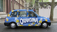 Orangina Taxi, London, England (Amethinah) Tags: uk greatbritain england london unitedkingdom cab taxi orangina 2013