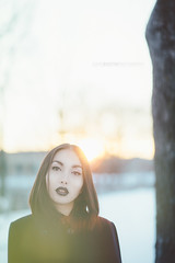 Elsa (David Boutin Photography) Tags: winter portrait sun canada girl beautiful asian photography model eyes quebec lips flares leaks