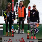 Red Mountain Fidelity BC Cup GS March 3 - U18 Podium -  left to right: Michelle Rufener, Kristina Natalenko, Katie Fleckenstein PHOTO CREDIT: Martin Tichy