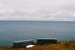 Granite Benches (Rachael.Robinson) Tags: ocean winter canada color film beach nature 35mm outside island view granite fujifilm benches campobello