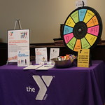 A table for The YMCA set up at a Career Fair