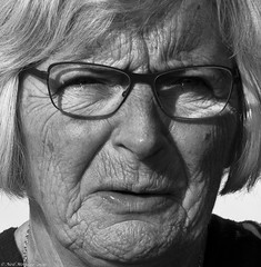 The Pain of Loss. (Neil. Moralee) Tags: old portrait blackandwhite bw woman white black monochrome loss face lady sadness grey mono glasses pain alone close fear gray crying lips blonde wife misery widow sorrow wrinkles grief frightened heartbroken widowed matue neilmoralee neilmoraleenikond7100austria