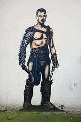 Gladiator street art, Bristol (tim constable) Tags: streetart man male muscles standing pose bristol soldier stencil mural roman outdoor muscular handsome weapon sword warrior strong classical armour stature goodlooking barechest homme gladiator defined smouldering glistening intimidate stoical queensshilling timconstable