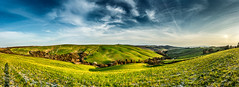 Tuscany. Panorama. (WaSz-Fotograf) Tags: italy panorama orange house green nature beautiful beauty field clouds farmhouse forest garden landscape countryside amazing italian europe italia mood farm country hill harvest meadow peaceful cypress pienza picturesque idyllic 500px ifttt