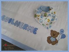 toalha de banho/babeiro bandana (Joanninha by Chris) Tags: baby azul handmade artesanato beb bordado ursinho enxovalbebe enxovalmenino aplicaodetecidos
