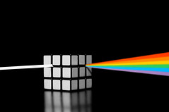 dark side of the cube (brescia, italy) (bloodybee) Tags: light music stilllife white black reflection colors rainbow spectrum squares geometry album science pinkfloyd explore cover cube refraction mathematics maths rubikscube optic darksideofthemoon 365project dispersiveprism