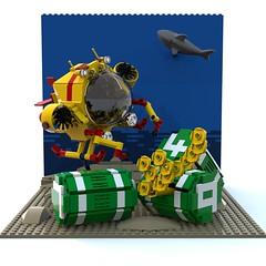 ABS Salvage (Europa Project WIP) (David Roberts 01341) Tags: shark europa underwater lego sub submarine scifi salvage abs diorama ldd minfigure bluerender
