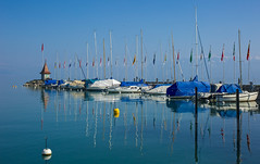 Flags, Boats and Mountains - Morges, Switzerland (paulapics2) Tags: travel winter vacation lake holiday mountains reflections landscape switzerland see harbour blues lac peaceful flags canon5d serene blueskies masts buoys lakegeneva morges snowcappedmountains cantonofvaud