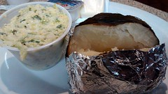 Slaw And A Baked Potato. (dccradio) Tags: food dinner lunch aluminumfoil restaurant nc northcarolina plate eat potato meal slaw dining supper coleslaw bakedpotato dinein lumberton pier41 robesoncounty