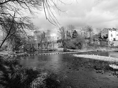 Morpeth Stepping Stones (stephen.lewins (1,000 000 UP !)) Tags: bw monochrome northumberland steppingstones morpeth highstanners wildaboutnorthumberland morpethinbw